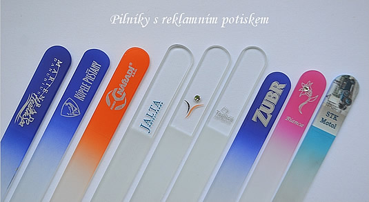Glass nail files with advertising